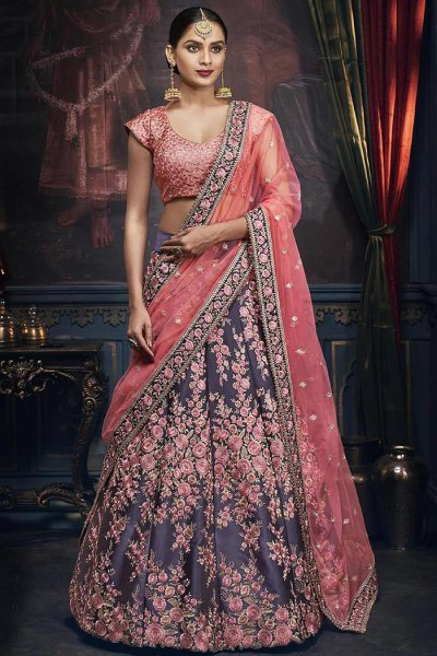 Carbon Blue and Pink Satin Silk Lehenga Choli