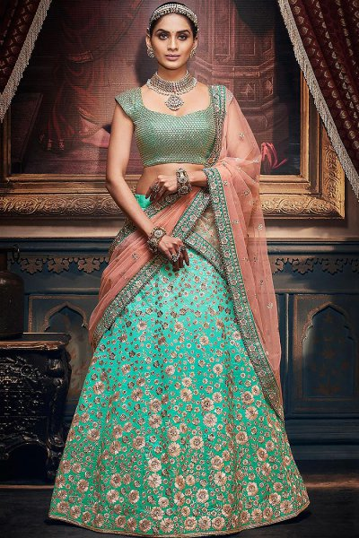 Mint Green and Peach Handloom Silk Lehenga Choli