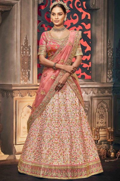 Peach and Pink Silk Embroidered Lehenga Choli