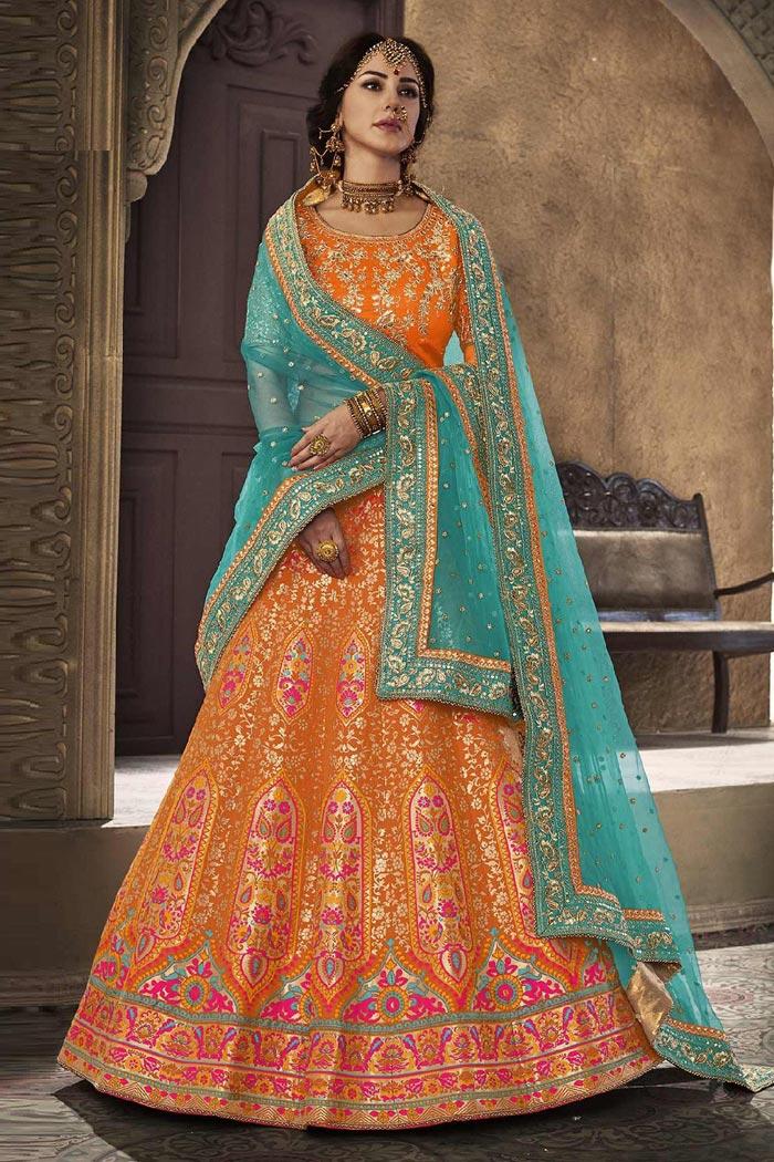 Orange and Turquoise Silk Lehenga Choli