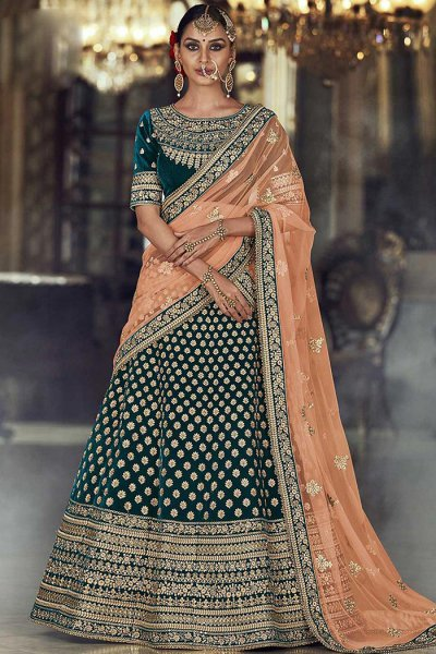 Dark Teal and Peach Velvet Lehenga Choli