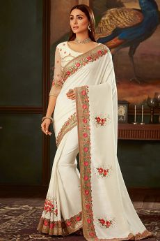 White Silk Designer Saree