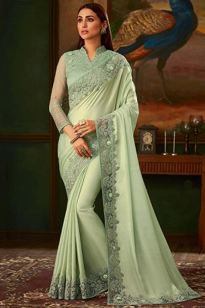 Light Sage Green Silk Designer Saree