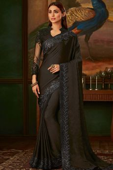 Black Satin Silk Designer Saree