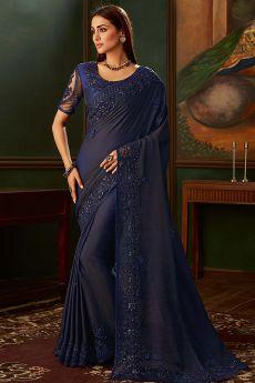 Classic Blue Silk Designer Saree