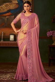 Rose Pink Georgette Shimmer Designer Saree