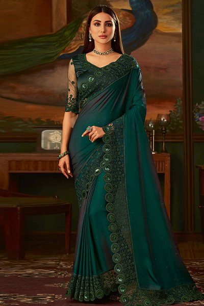 Bottle Green Silk Designer Saree