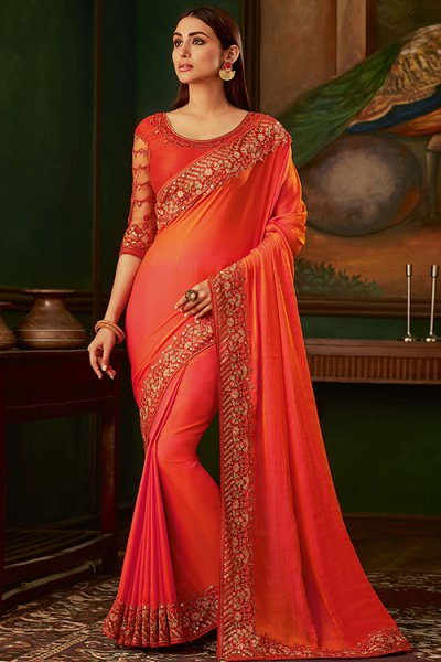 Red and Orange Silk Designer Saree
