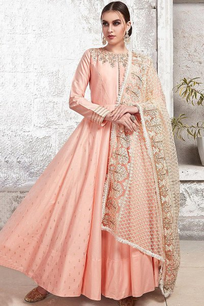 Blush Pink Yoke Embroidered Anarkali Suit