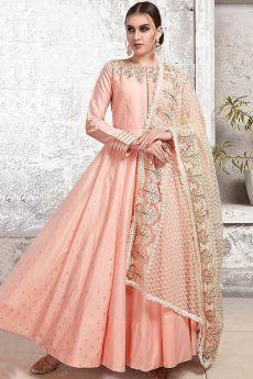 Blush Pink Yoke Embroidered Anarkali Suit