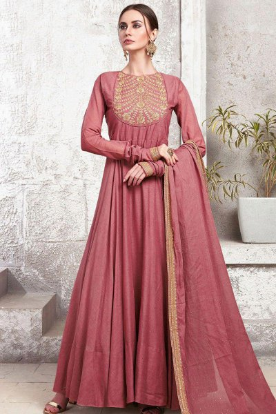 Dark Pink Yoke Embroidered Anarkali Suit