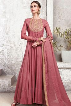 Dark Pink Yoke Embroidered Anarkali Suit