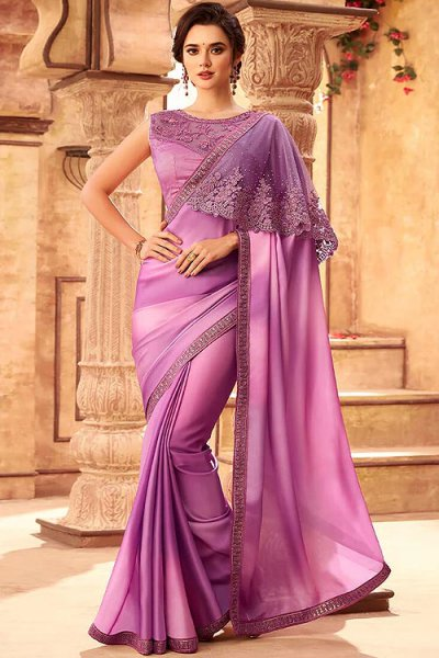 Lilac Silk Embroidered Saree