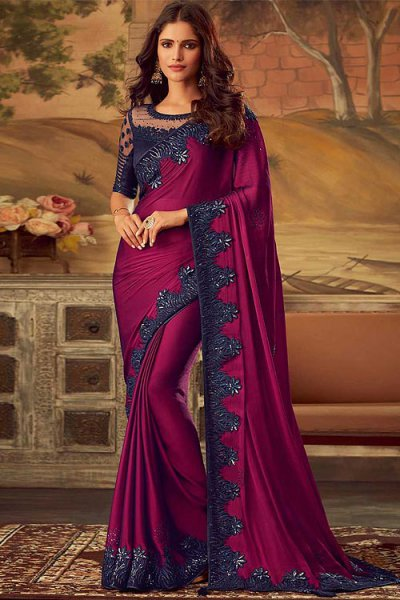 Deep Magenta Silk Embellished Saree