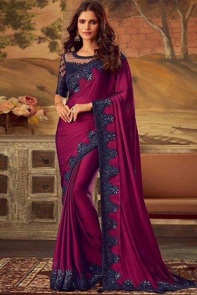 Deep Magenta Silk Embellished Saree