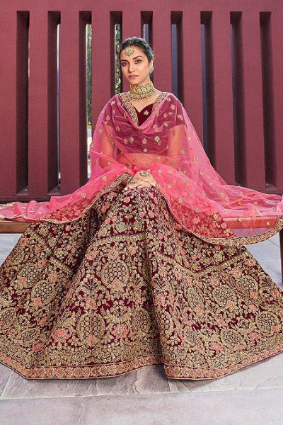 Cherry Red Velvet Embroidered Lehenga Choli