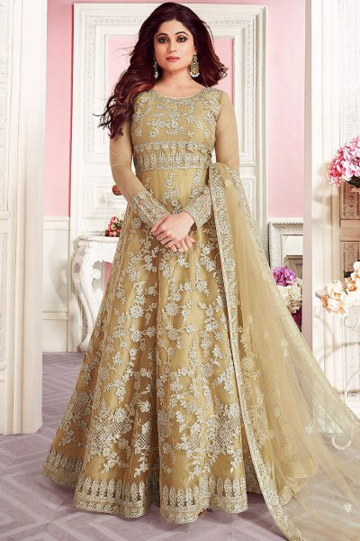 Beige Embroidered Anarkali Suit in Net