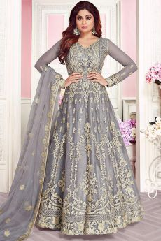 Smokey Grey Embroidered Anarkali Suit in Net