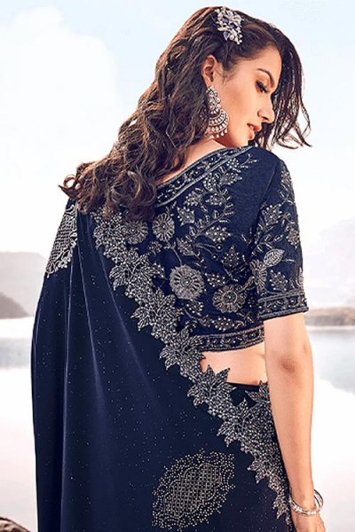 Designer Navy Embroidered Party Wear Saree