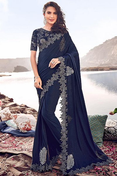 Designer Navy Embroidered Party Wear Saree