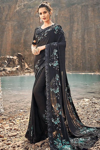 Designer Black Embroidered Party Wear Saree