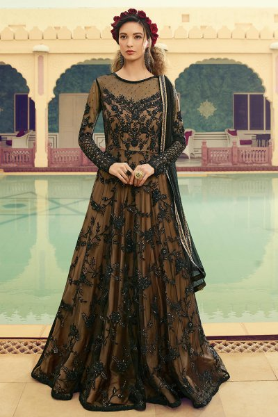 Embellished Black and Beige Anarkali Suit in Net