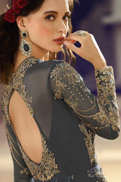 Embellished Grey Anarkali Suit in Net