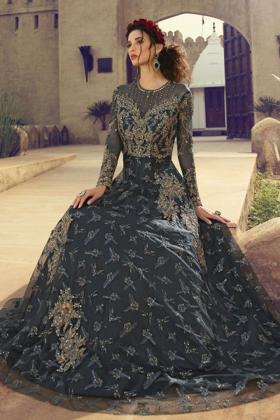 Embellished Grey Anarkali Suit in Net