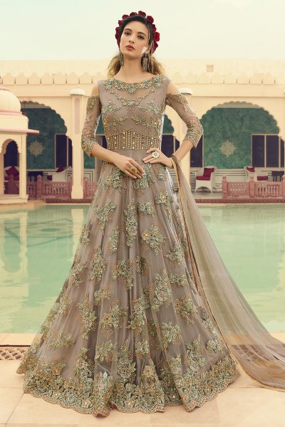 Embellished Taupe Anarkali Suit in Net