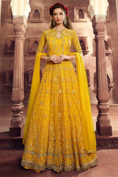 Embellished Yellow Anarkali Suit/ Lehenga in Net