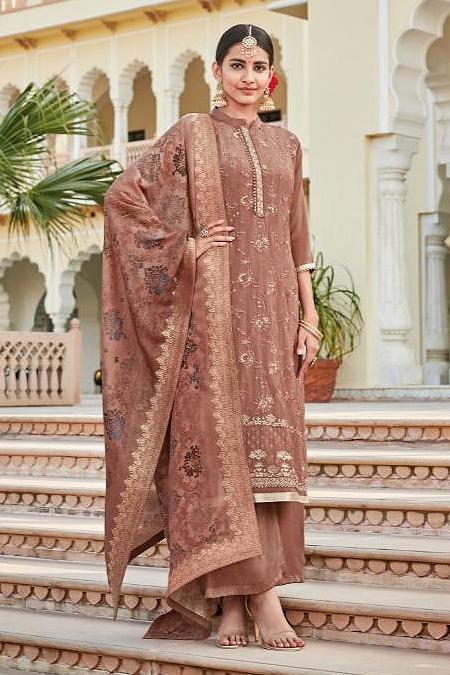 Attractive silk crepe palazzo suit in almond brown colour
