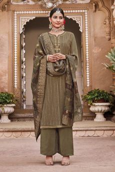 Olive Green Silk Crepe Palazzo Suit