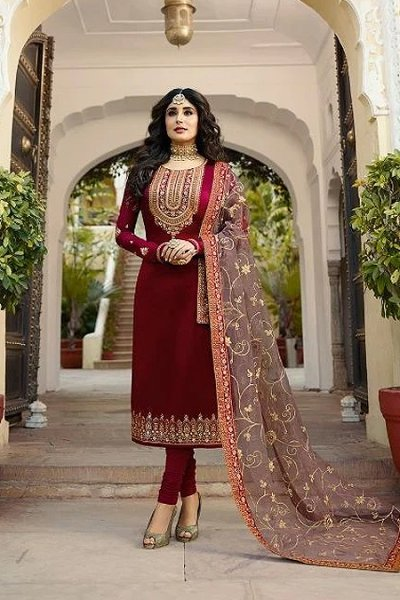 Charming Wine Satin Georgette Salwar Kameez