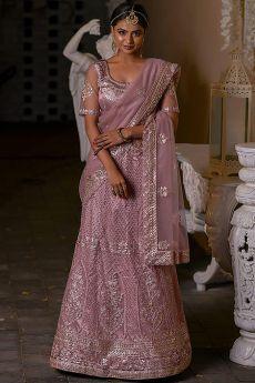 Beautiful Blush Pink Crystal and Zari Work Lehenga Set