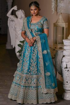 Beautiful Blue Crystal and Zari Work Lehenga Set