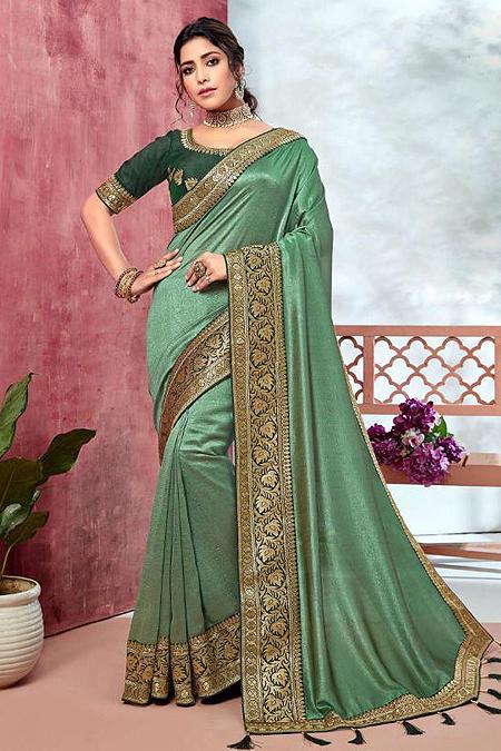 Designer Green Silk Saree