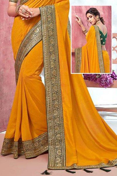 Designer Yellow Silk Saree