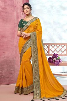 Designer Yellow Silk Saree