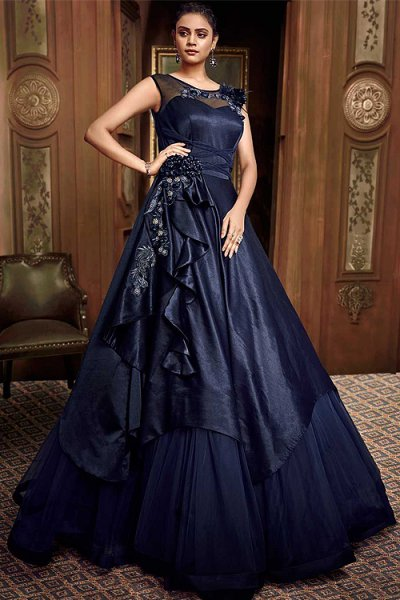 Classic Blue Designer Evening Dress in Silk