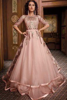 Blush Pink Designer Evening Dress