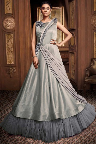 Silver Grey Designer Evening Dress in Silk
