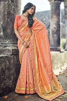Fantastic Orange Printed Banarasi Silk Saree