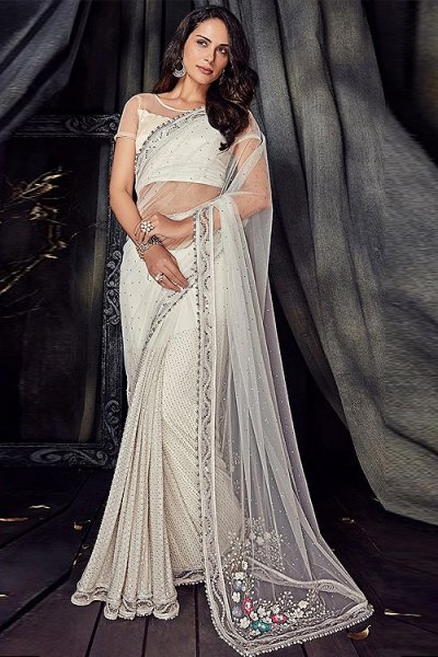 White Pearl Hand Work Saree in Net