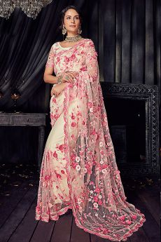 Pink and White Pearl Work Saree in Net