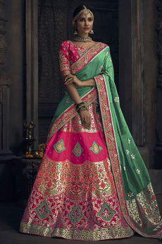 Pink and Green Gota Hand Work Banarasi Silk Lehenga