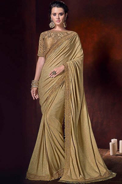 Golden Designer Silk Saree with Pearl Work