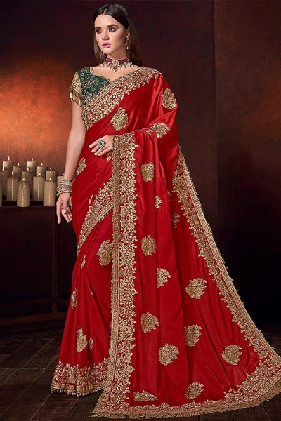 Red Designer Silk Saree with Zari Work