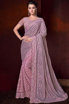 Lucknowi Saree with Crystal Work