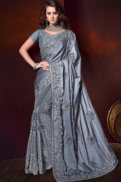 Grey Designer Silk Saree with Pearl Work