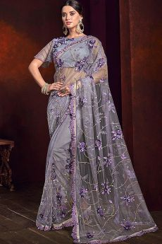 Grey and Purple Sequin Work Saree in Net